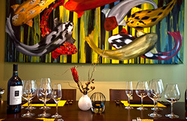 Hotel Fifty wineglasses and a painting