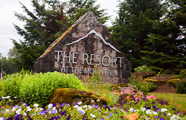 Resort at the Mountain flowers and sign