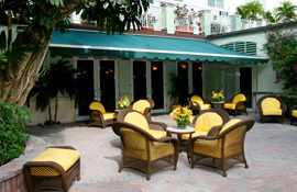 Riverside Hotel courtyard with chairs