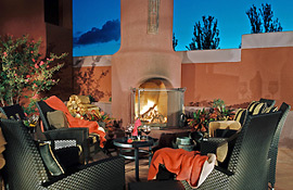 The Sedona Rouge terrace with outdoor fire